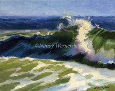 Nancy Wernersbach© Oil Second in my 8 x 10 wave series. Includes a contemporary white floating frame. Jones Beach, Floating Frame, Ancient Greece, Artist Painting, Metropolitan Museum, Abstract Pattern, Orchids, Waves, Action