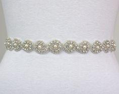 CARINA II - Bridal Crystal Rhinestone Sash, Rhinestone Wedding Sash, Rhinestone And Pearls Beaded Bridal Belt, Wedding Belts $68