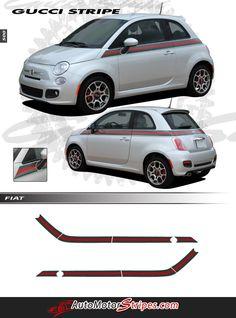 5a54f97c6 2007-2018 Fiat 500 Italian Gucci Red Green Flag Upper Door Accent Stripes  Vinyl Graphic Kit