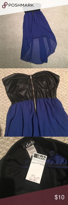 High to low sheer cocktail dress with leather top Rand new never worn, blue sheer dress with black leather top Nd middle zipper. Tags on! Deb Dresses Strapless