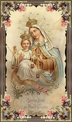 Our Lady of Mount Carmel Religious Pictures, Jesus Pictures, Religious Icons, Religious Art, Blessed Mother Mary, Blessed Virgin Mary, Catholic Prayers, Catholic Art, Lady Of Mount Carmel