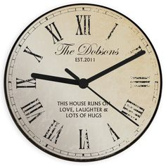 A fantastic Personalised Rustic Message Glass Clock that can be personalised for any occasion. The clock makes a real focal point in the home making it an ideal personalised wedding gift or birthday present. Clock measures approx. 20cm in diameter and requires 1 x AA battery which is not included.