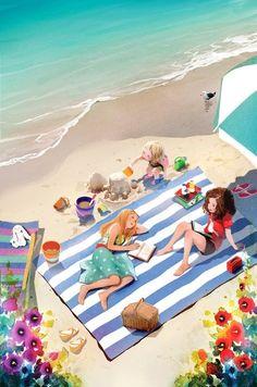 bibliolectors:  Cualquier día de verano, en la playa, con las amigas y los libros… placeres del verano (ilustración de Kim Ji-Hyuk)