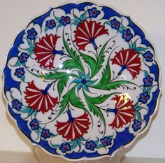 "6 Red Carnation Design Turkish/Ottoman 7"" Handmade Iznik Ceramic Plate 