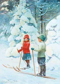 Let's cross country ski! ~~~vintage artwork by Jenny Nyström Christmas Scenes, Christmas Art, Vintage Christmas, Winter Illustration, Illustration Art, Ski Vintage, Nordic Skiing, Ski Posters, Cross Country Skiing