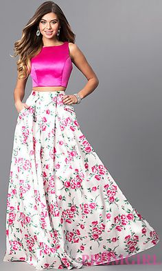 Two-Piece Prom Dress with Print Skirt and Pockets at PromGirl.com