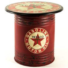 Texaco Oil Can Side Table shop. Garage Furniture, Barrel Furniture, Deco Cool, Pompe A Essence, Barrel Projects, Vintage Gas Pumps, Old Gas Stations, Oil Drum, Man Cave Garage