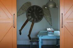 wall color: BM classic gray; door color: BM calypso orange
