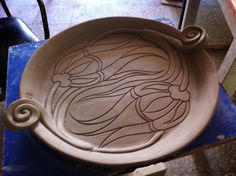 Photo Only: Nihat Tekin carved plate nouveau lines matching flowers - Really Pretty