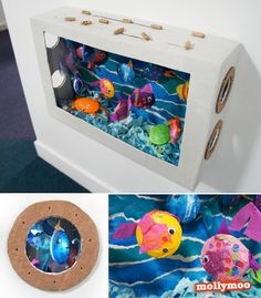 DIY Cardboard Aquarium - perfect for displaying (and racing) the kids styrofoam fish creations http://mollymoo.ie/2012/06/diy-cardboard-aquarium-craft/