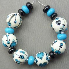 Folk Whispers - more gorgeous lampwork glass beads by Pixie Willow Designs