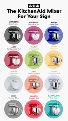 There's a perfect KitchenAid for each astrological sign—how likely you are to bake, what your kitchen might already look like, and what color vibes best with your personality. Here's which one to go for, based on your sign. Candy Apple Red, Candy Apples, Red Apple, Kitchenaid Mixer Colors, Kitchenaid Standmixer, Spice Things Up, Good Things, Sea Glass Colors, Calming Colors
