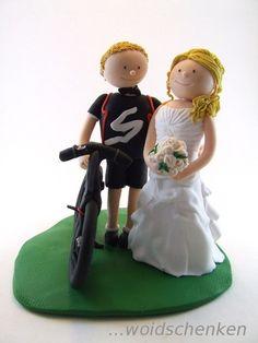 Tortenfiguren Brautpaar mit Fahrrad