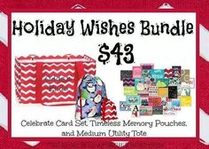 Holiday Wishes Bundle...31 Occasion Cards, Memory Pouches and a Medium Utility Tote...
