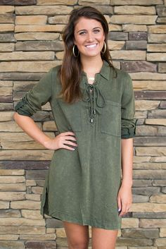 Ethereal Olive Green Lace Up Tunic Dress