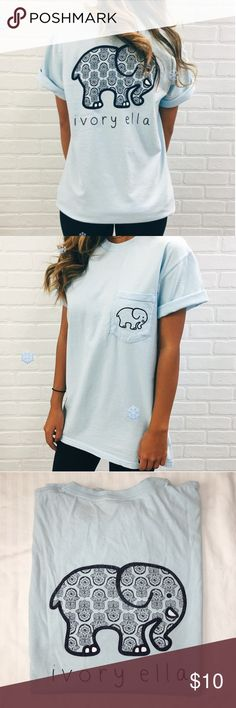 Ivory Ella Tee  Our classic tee! Super soft with a comfortable fit and the perfect length for pairing with your favorite leggings or jeans. Show that you support saving elephant's lives!! Still in good condition. The design is a little distressed from wear but still has lots of life left.  Screen-printed in America 100% Cotton Custom Dyed Hand-wash before wear Unisex, runs true to size.  PORTION OF EACH SALE GOES DIRECTLY TO SAVETHEELEPHANTS.ORG Ivory Ella Tops Tees - Short Sleeve