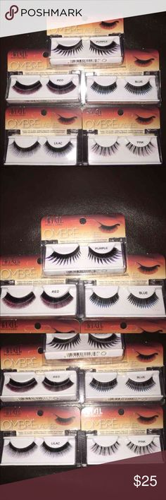 NEW Ardell Color False Lashes Ardell Professional Ombré collection.  Costume False Lashes Quantity: 5 pairs of lashes total. Colors: Purple, Red, Blue, Lilac, & Pink. Ardell Makeup False Eyelashes