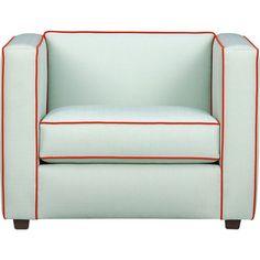 cb2 club piping chair
