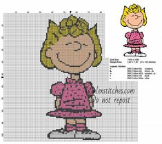 Sally Brown Peanuts cartoons character free cross stitch pattern