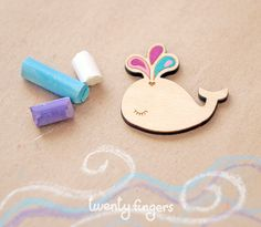 Wood Baby Whale brooch  - laser cut wood & hand painted by TheTwentyFingers on Etsy
