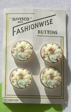 Czech Glass Button Vintage x 4 on original by sarasellsvintage                                                                                                                                                      More