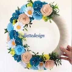 Spring Wreath, Summer Wreath, Blue Flowers Wreath, Felt Wreath, Blue Wreath,  Wreaths by juliettesdesigntr on Etsy https://www.etsy.com/listing/604549093/spring-wreath-summer-wreath-blue-flowers