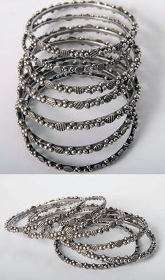 Old silver Moroccan bracelets from Guelmim.