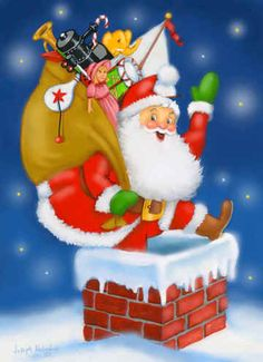 Hope I Don't Get Stuck by Joseph Holodook ~ Santa with sack of toys entering chimney ~ Christmas