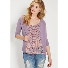 maurices The Classic Cardi With V-Neckline ($29) ❤ liked on Polyvore featuring tops, cardigans, lavender dust, plus size 3/4 sleeve tops, lavender cardigan, three quarter sleeve cardigan, plus size tops and vneck cardigan