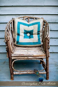 stick chair with custom pillow by jay johnstone