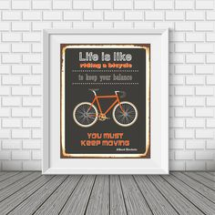 Bike print Quote poster Inspirational typography by BlackPelican