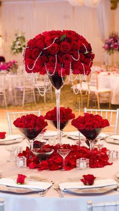Rose and pearl center piece - our inspiration for our July window displays - www.katherineallenbridal.co.uk