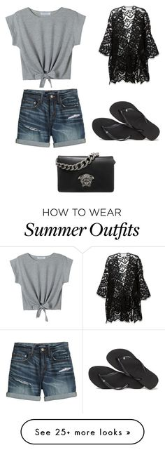 """Cute Summer Outfit"" by lsantana13 on Polyvore featuring WithChic, Canvas by Lands' End, Chloé, Havaianas and Versace"