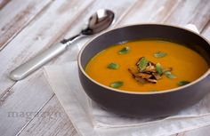pumpkin and apple soup with shiitake mushrooms