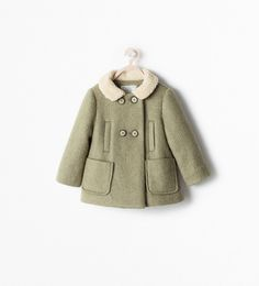 Image 2 of THREE-QUARTER COAT WITH A SHEARLING-LINED COLLAR from Zara
