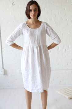 rennes Long Sleeve Meeting Dress White Linen