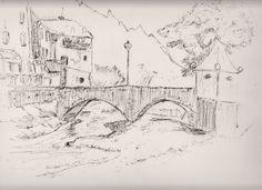 # Zeichnung, Kleiner Fluß mit Brücke