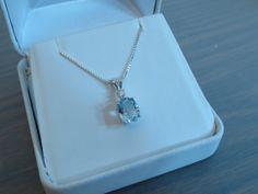 Aquamarine Oval Pendant and Full Cut Diamond by RLGemstoneElegance, $189.99