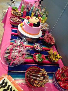 Mexican Candy buffet table  Frida  Kahlo Party #fridakahlo #mexicancandy Mexican Party
