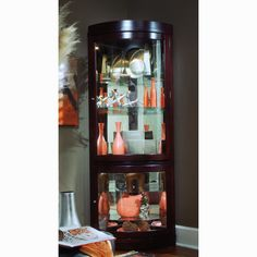 Chocolate Cherry Curved Front Corner Curio Cabinet (Curio Cabinet), Brown