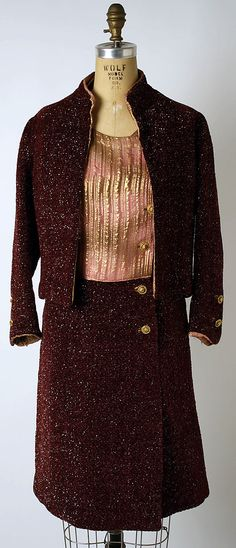 Cocktail ensemble | Gabrielle Chanel (French, 1883-1971) | France, 1964 | Materials: tweed, metallic | The Metropolitan Museum of Art, New York