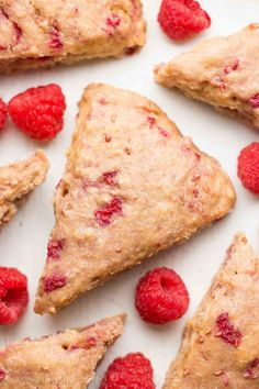 Healthy Raspberry Almond Scones -- an easy, one-bowl recipe with just 133 calories! Made guilt-free with Greek yogurt!