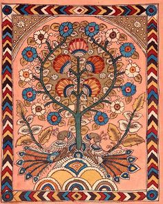Indian painting kalamkari tree of life Madhubani Art, Madhubani Painting, Traditional Paintings, Traditional Art, Tree Of Life Painting, Kalamkari Painting, Medieval Tapestry, Indian Folk Art, Fashion Painting