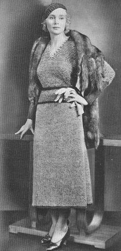 Vintage 1930s Bonnie Parker Gangster Moll Knitted 2 Piece Sports Dress Pattern PDF 3203