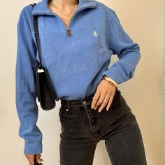 Goodsize on Vintage blue Ralph Lauren knit sweater-love the zip up. Cute Fashion, Look Fashion, Fashion Clothes, Fashion Outfits, Teens Clothes, Lolita Fashion, Fall Fashion, Prep Fashion, Fashion Hacks