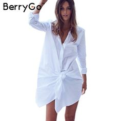 432ef255256 BerryGo white shirt dress women Sexy bow long sleeve party summer dress  2016 Casual loose straight