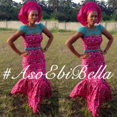 Ankara mermaid dress with turquoise lace insert as waist hand and chest cover. Pink matching gele.