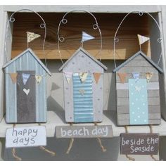 Set of 3 Gisela Graham Beach Hut Plaques, Nautical Bathroom Decoration