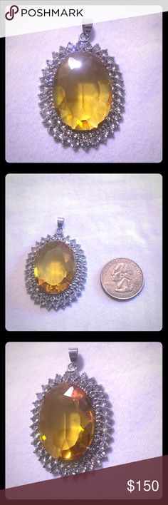 Genuine 20ct Citrine&white sapphire 18kt pendant Beautiful every detail of this 20ct facet cut citrine pendant surrounded by white sapphires in 18kt plating 1.5inches In length ❤️👑Trade value 250 Jewelry