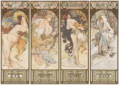 Alphonse Mucha Figurative Print - The Seasons